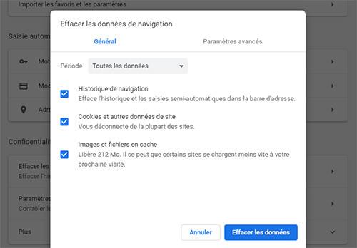 Vider cache Google Chrome