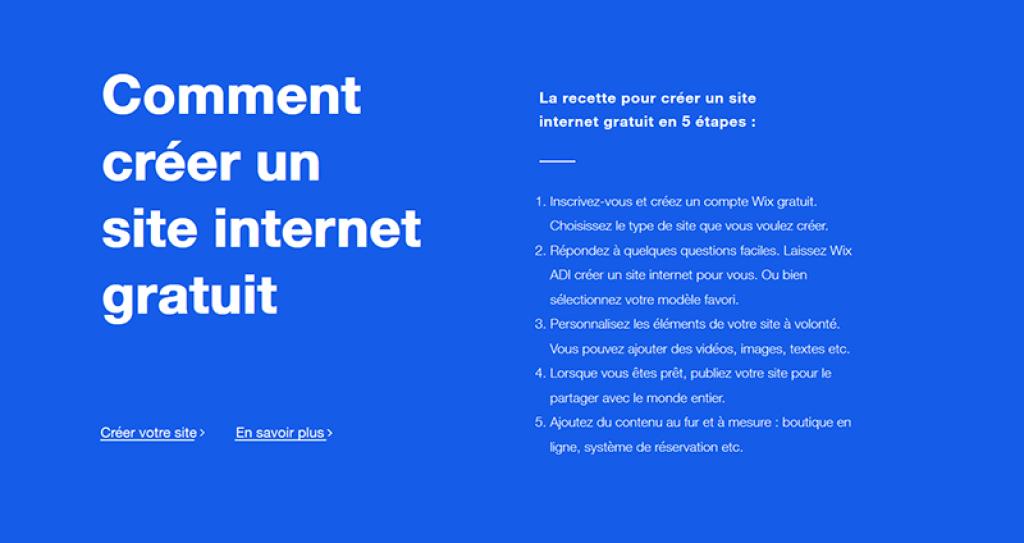 Comment créer site Wix