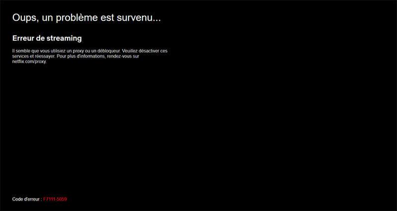Erreur proxy Netflix