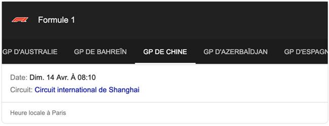 Grand Prix Chine Formule 1 (F1)