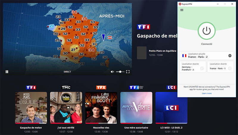 TF1 à l'étranger avec VPN