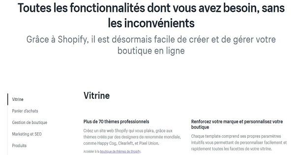 Shopify-fonctionnalités