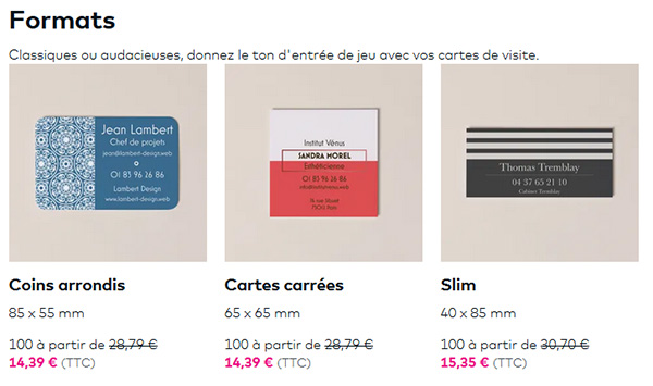 Cartes de visite Vistaprint