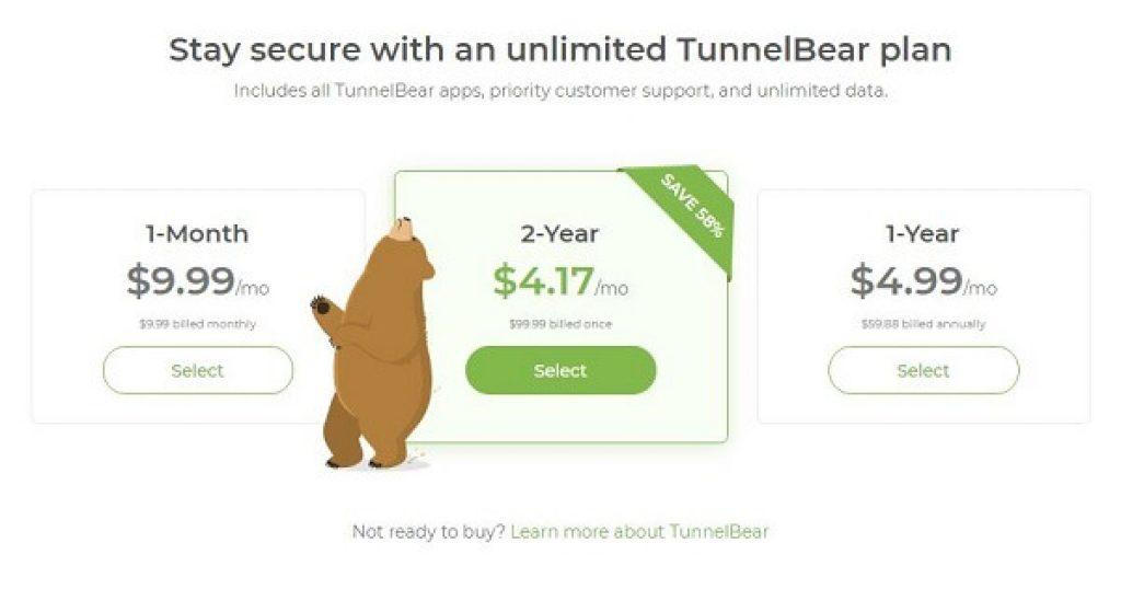 Tarifs TunnelBear