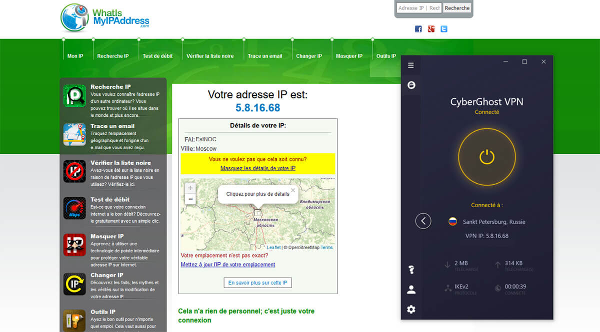 Obtenir IP russe CyberGhost