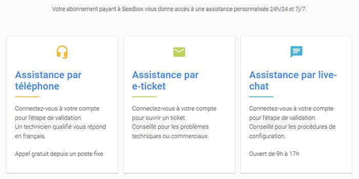 Support client Avis Seedboxfr