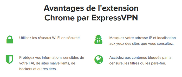 Avantages extension VPN Chrome ExpressVPN