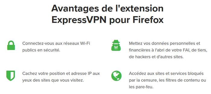 Avantages extension Firefox ExpressVPN
