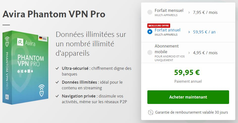 tarifs avira phantom vpn