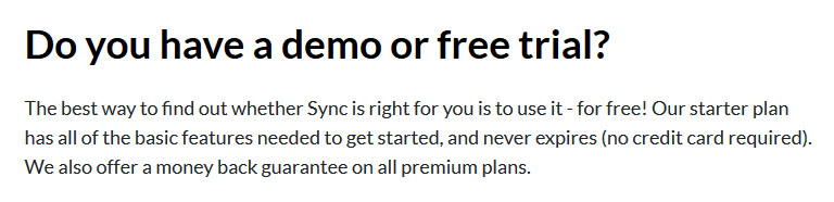 Informations offre gratuite Sync