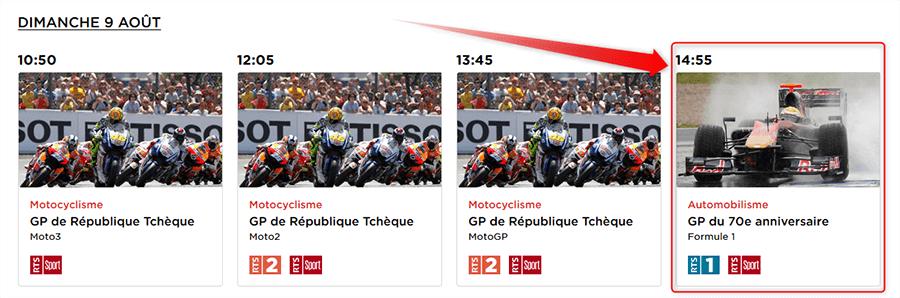 Grand Prix Grande Bretagne F1 sur RTS