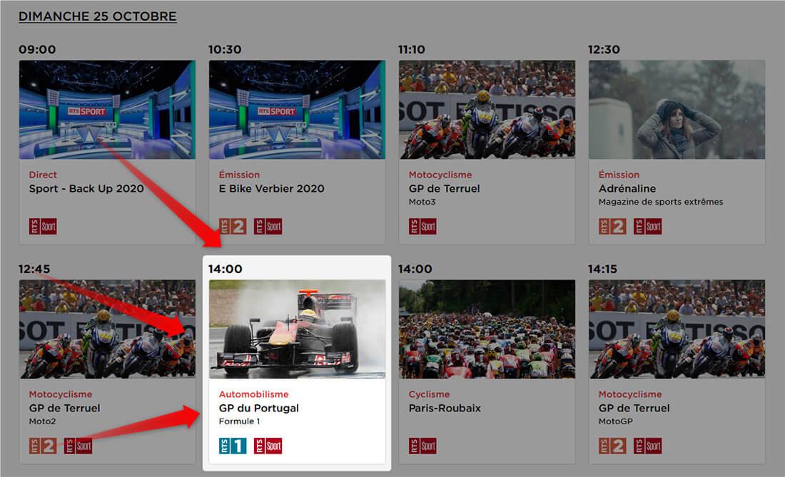 Programme RTS GP Portugal F1