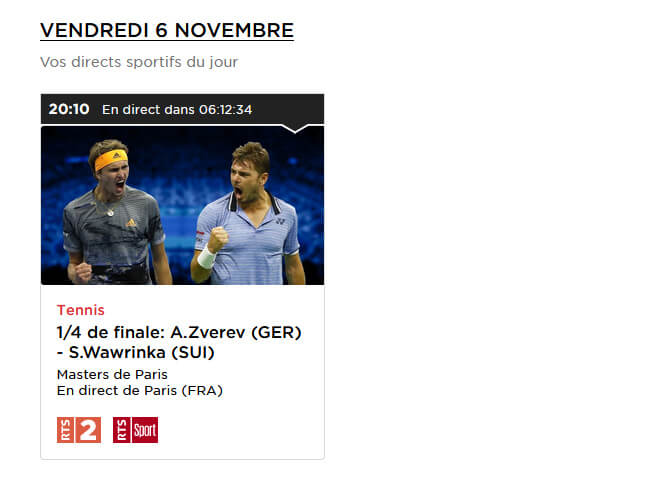Programme TV RTS Masters Paris Tennis