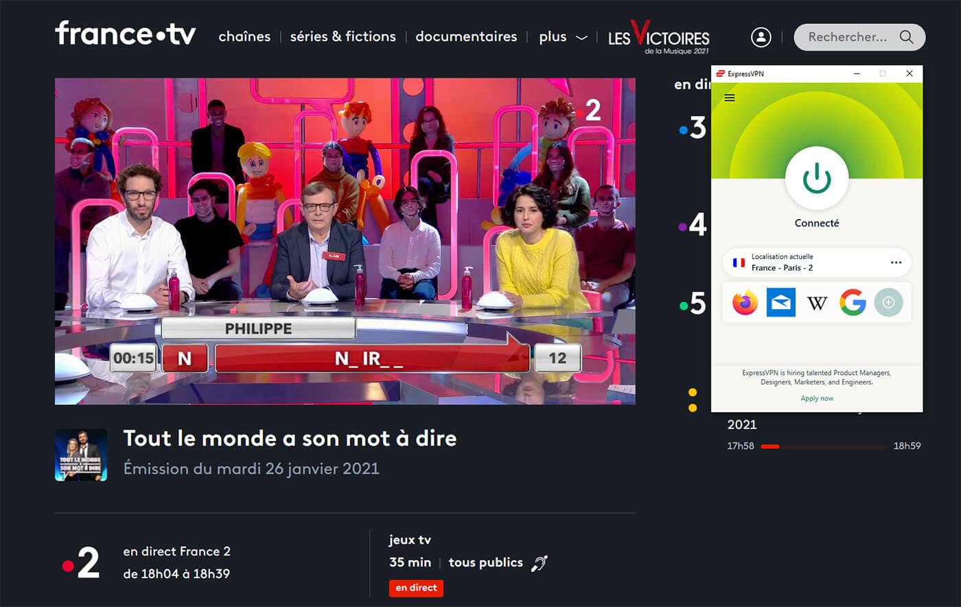Accès Direct France 2 étranger ExpressVPN