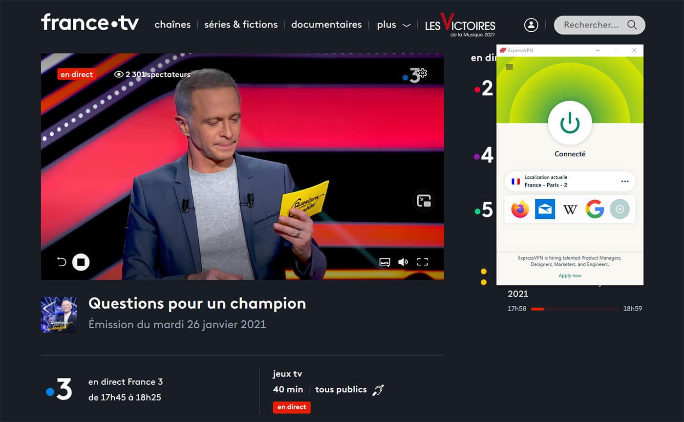 Accès France 3 Direct étranger ExpressVPN