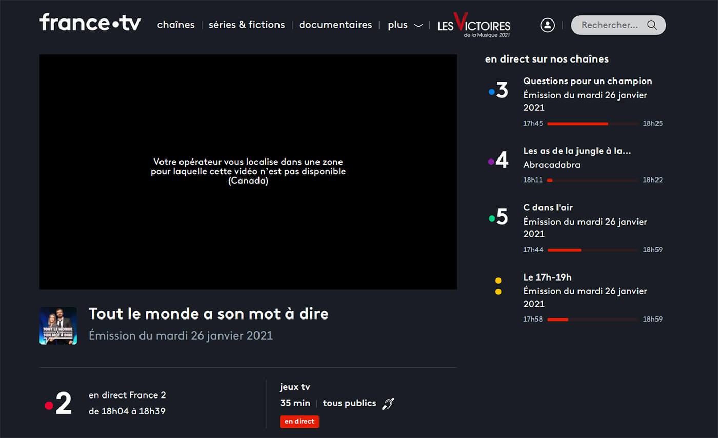 Blocage Direct France 2 étranger