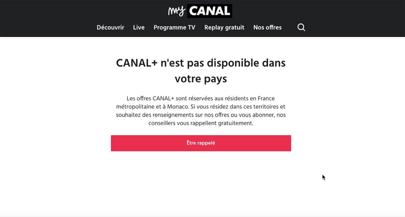 Message blocage Canal+ MyCanal étranger