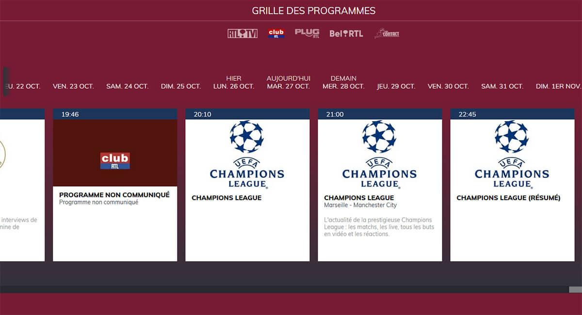 Programme TV RTL Club Marseille Manchester City