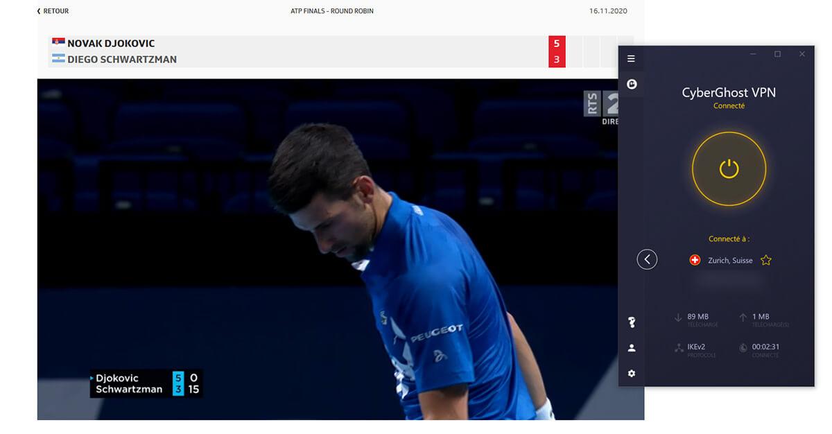 Déblocage RTS ATP Finals Londres CyberGhost