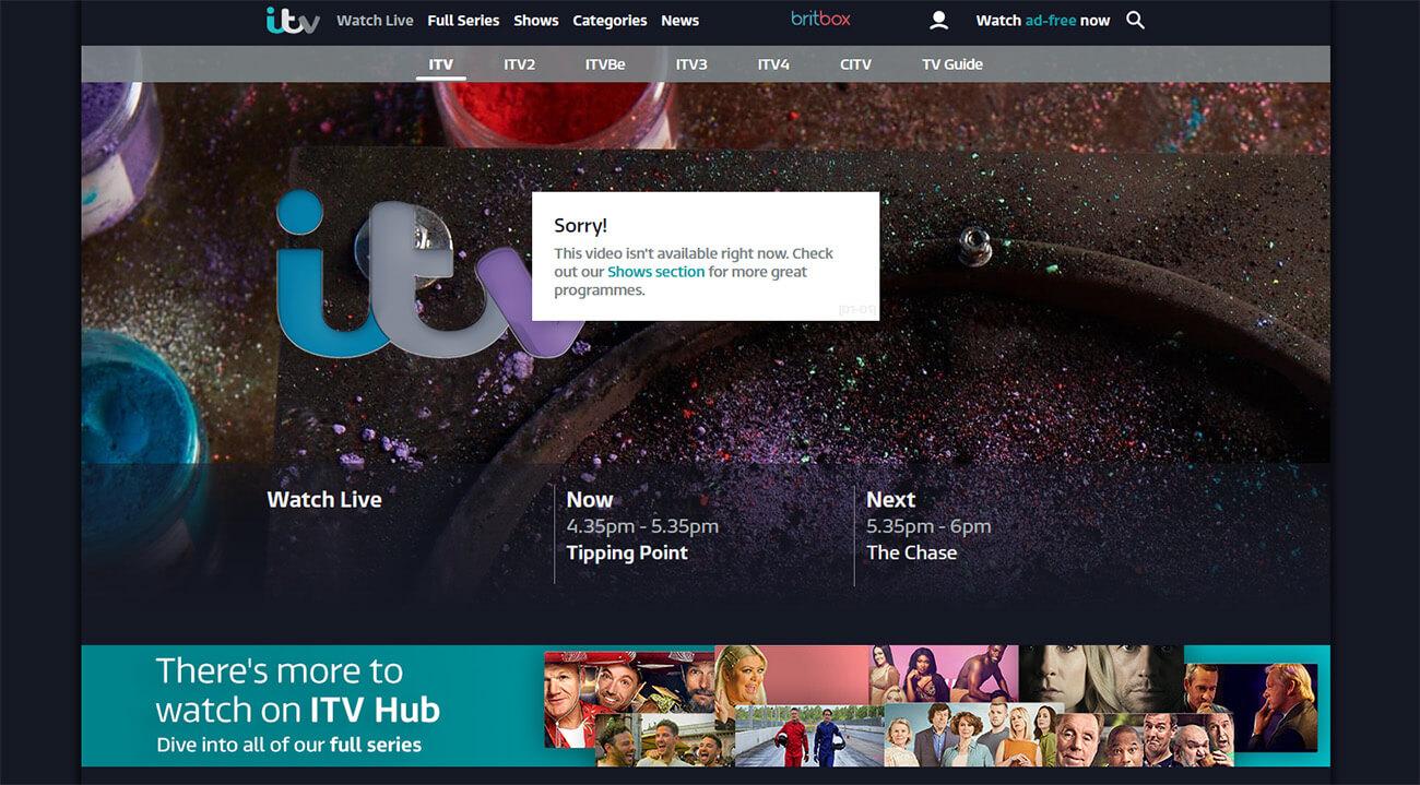 Message erreur ITV direct France