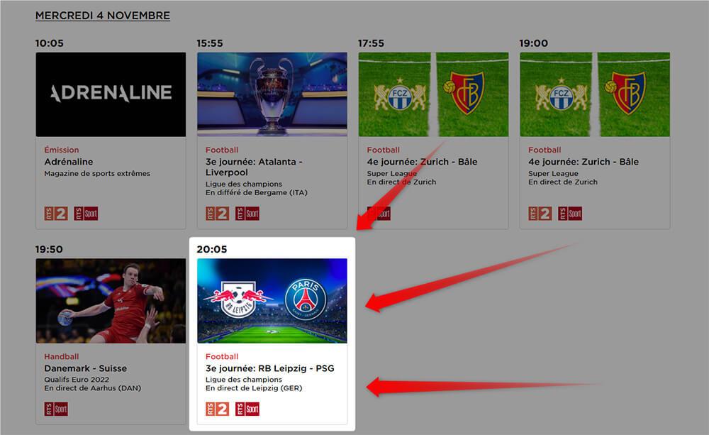 Programme RTS Leipzig PSG Ligue des Champions