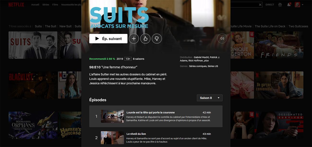 Suits 8 Saisons Netflix France