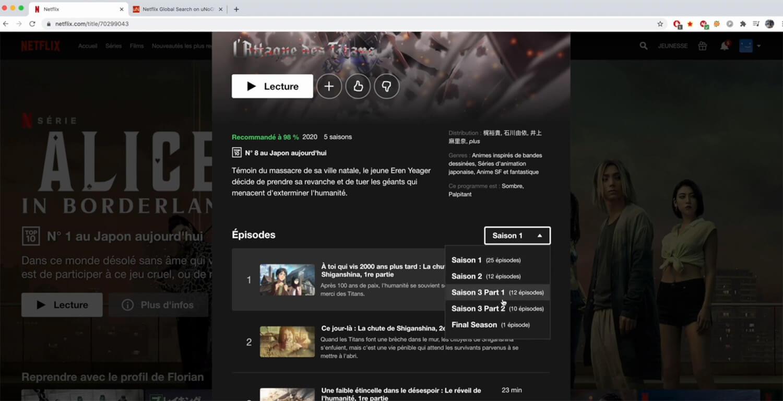 Accès saison 3 et 4 Attaque des Titans Netflix
