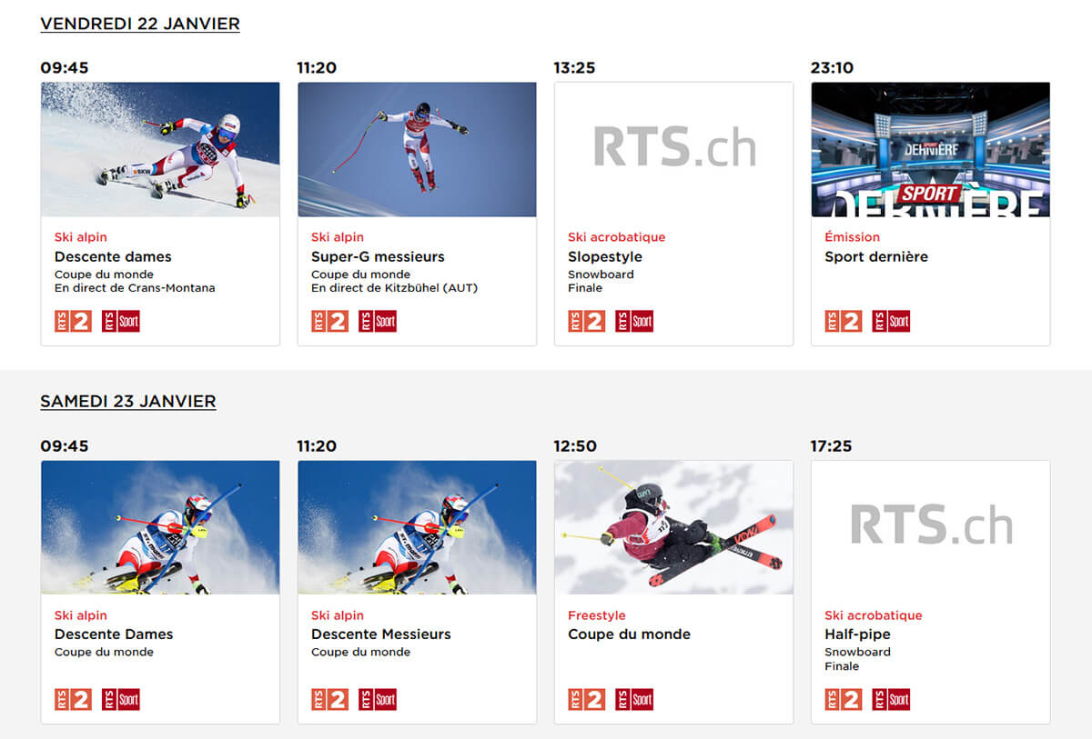 Programme RTS Ski Alpin 21 22 Janvier