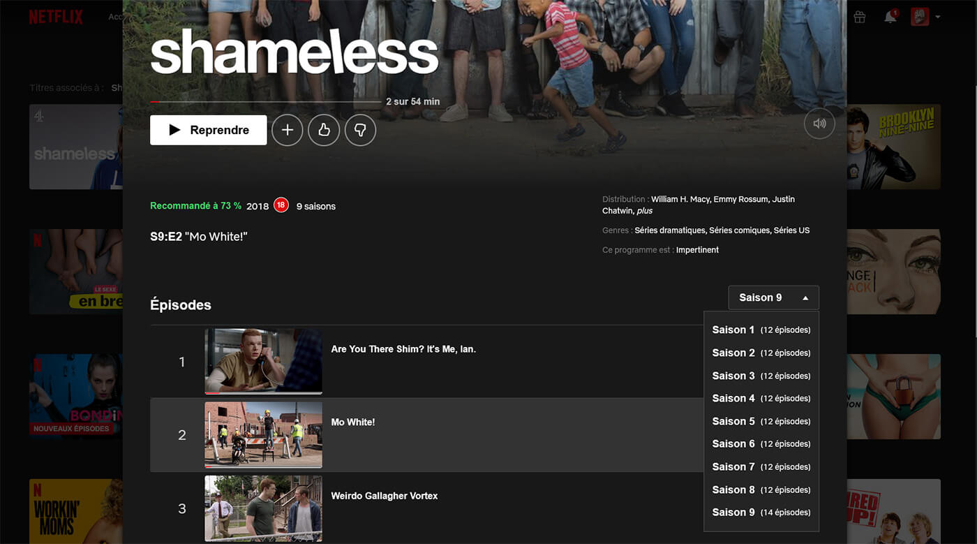 Accès aux saisons Shameless Netflix