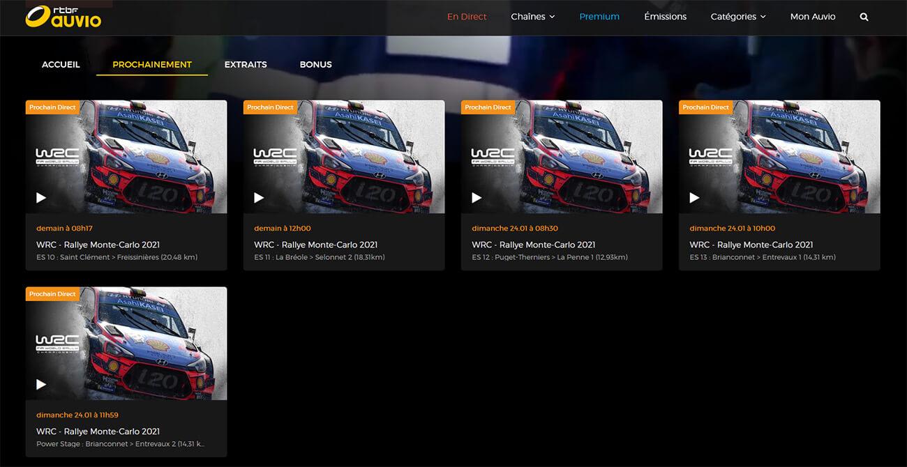Diffusion Rallye WRC RTBF chaîne gratuite