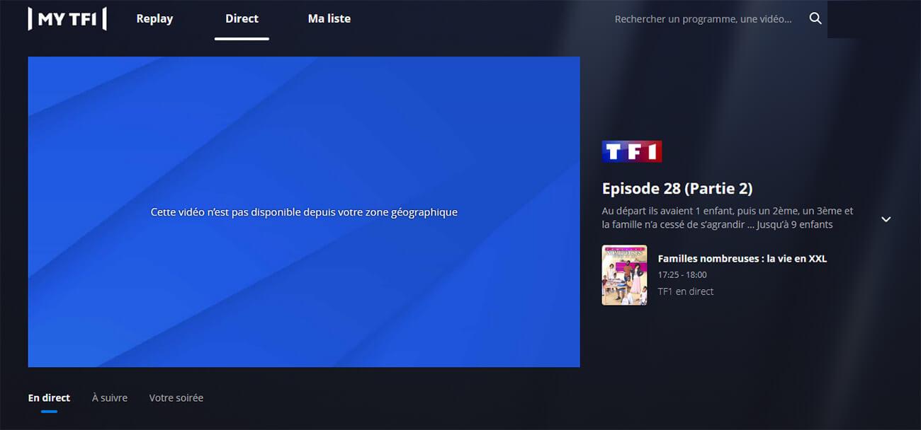 Message erreur accès TF1 étranger