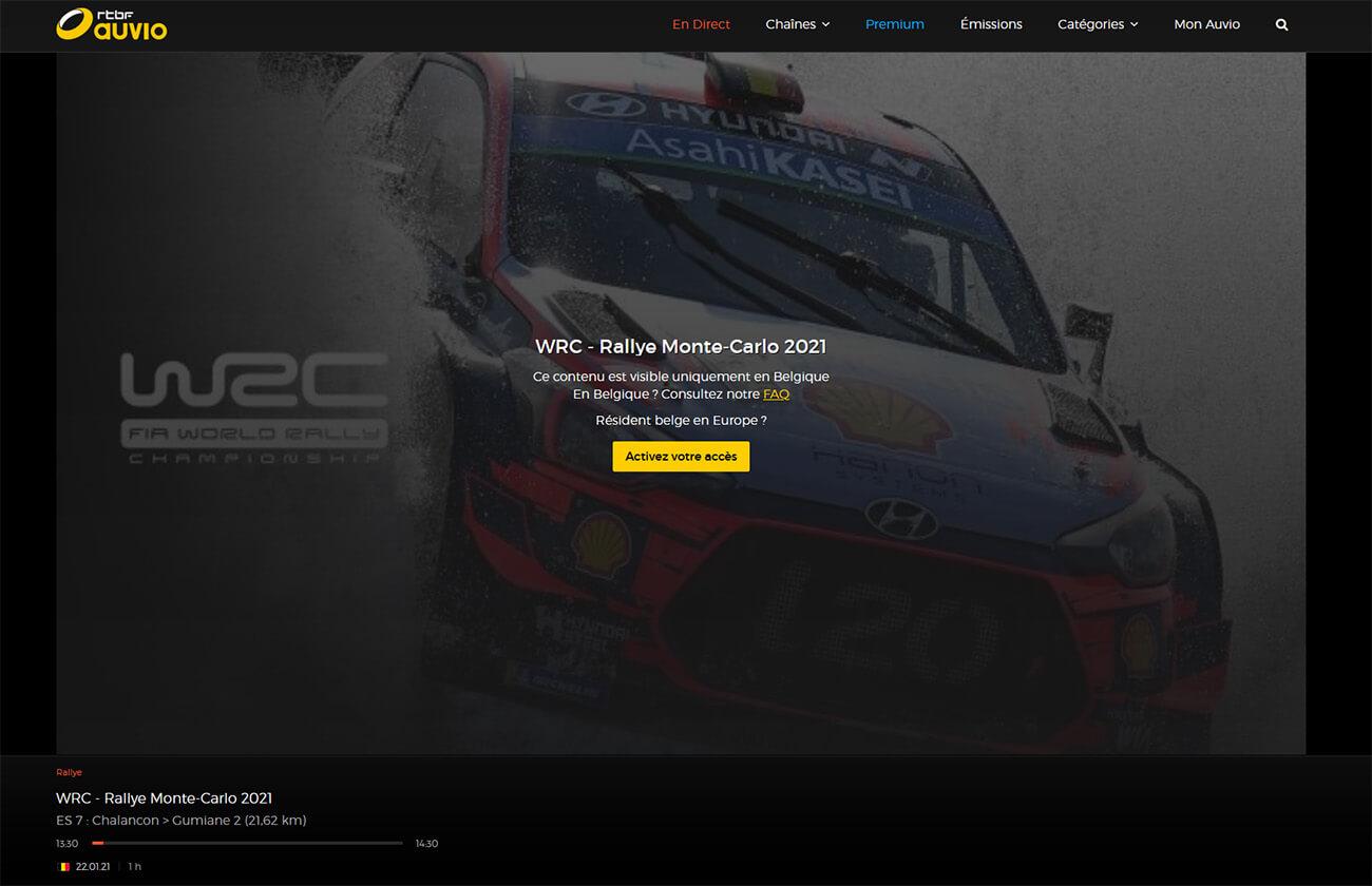 Message erreur direct RTBF WRC