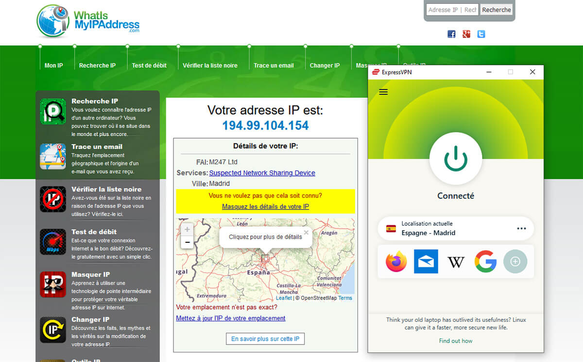 Obtenir IP espagnole ExpressVPN