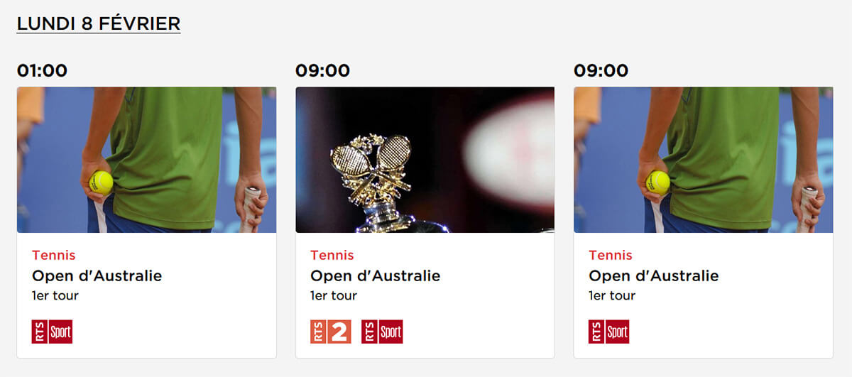 Programme TV RTS Open Australie 2021