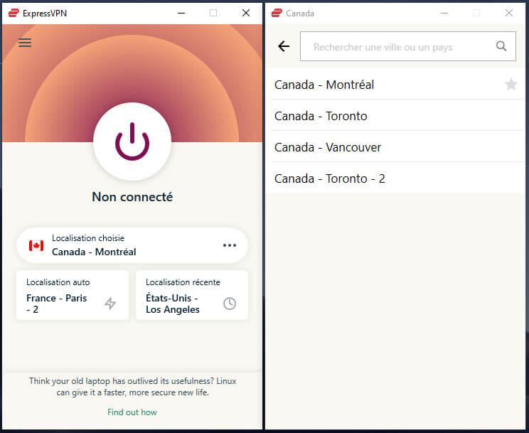 Serveurs Canada ExpressVPN