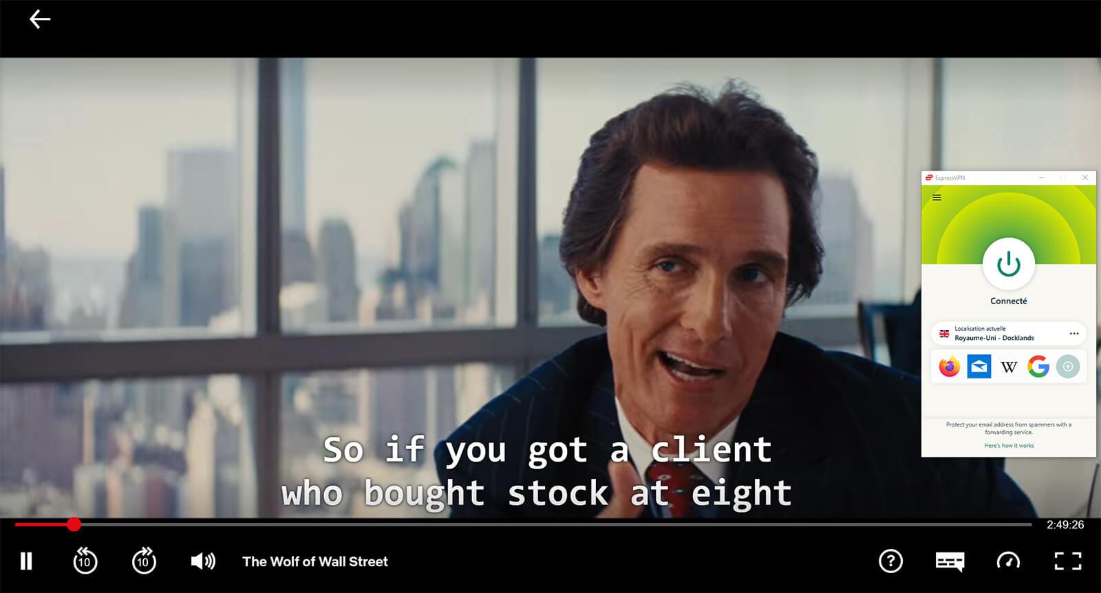 Visionnage Le Loup de Wall Street Netflix UK