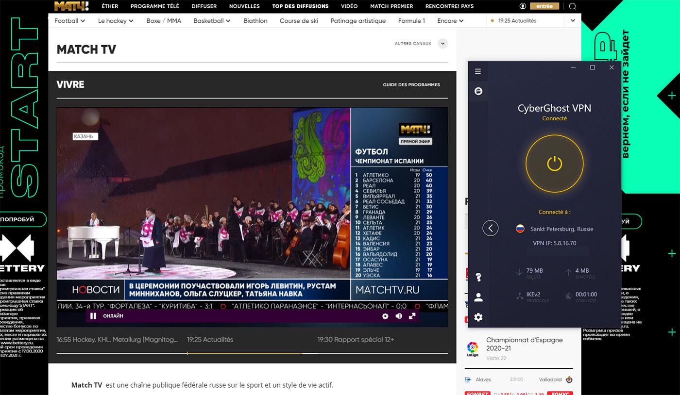Accès direct chaine russe gratuite MatchTV CyberGhost