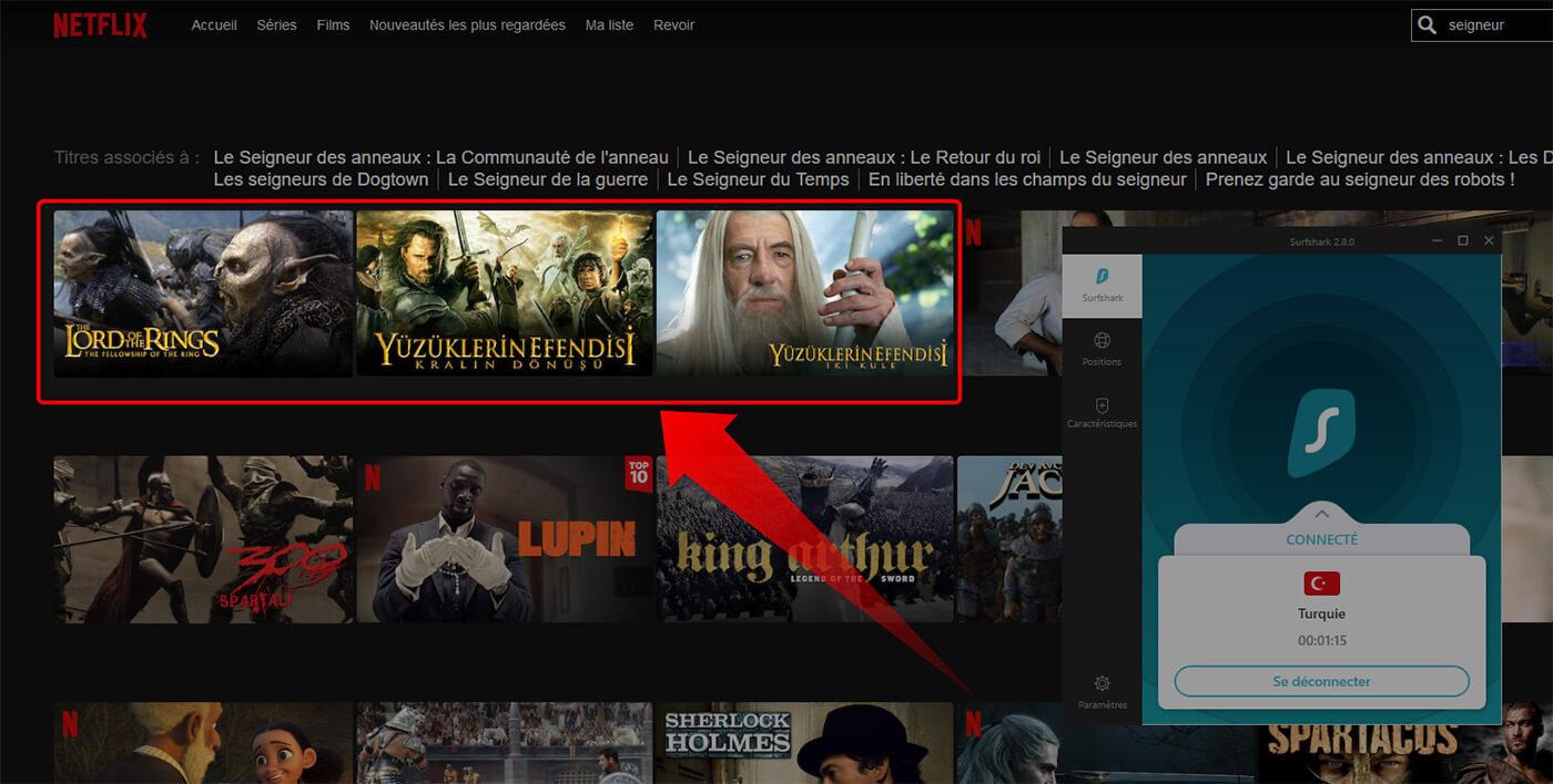 Déblocage Films Seigneur des Anneaux Netflix Surfshark