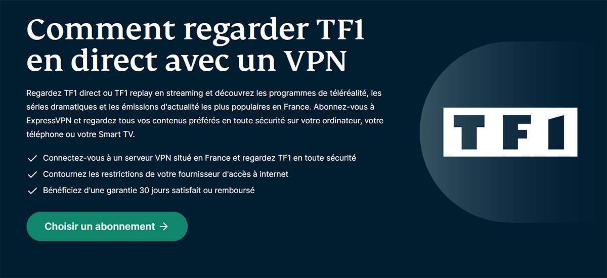 Débloquer TF1 MyTF1 ExpressVPN