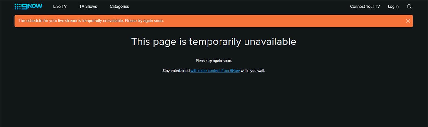 Message erreur blocage Chaîne gratuit 9NOW France