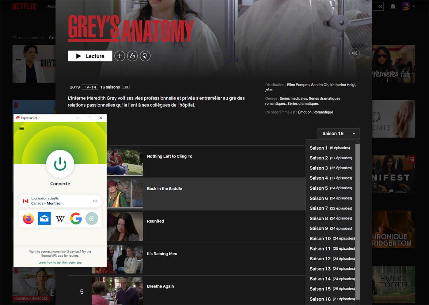 Grey's Anatomy Netflix Canada 16 saisons