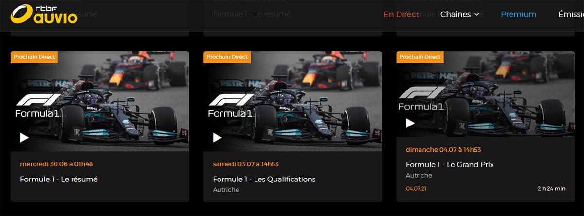 Programme TV RTBF GP Autriche F1