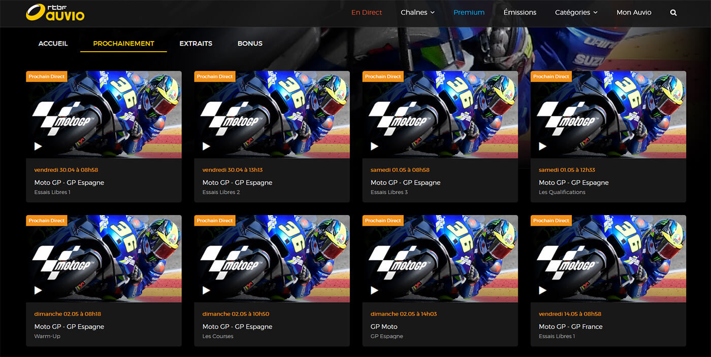 Programme TV RTBF MotoGP GP Espagne
