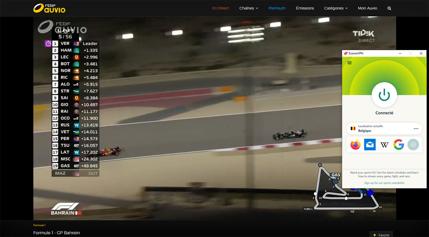 Streaming Direct Formule 1 RTBF Chaine gratuite