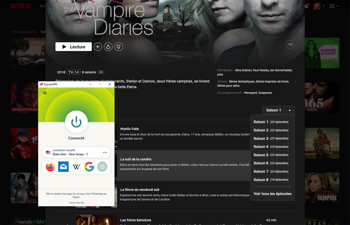 Accès saisons Vampire Diaries Netflix