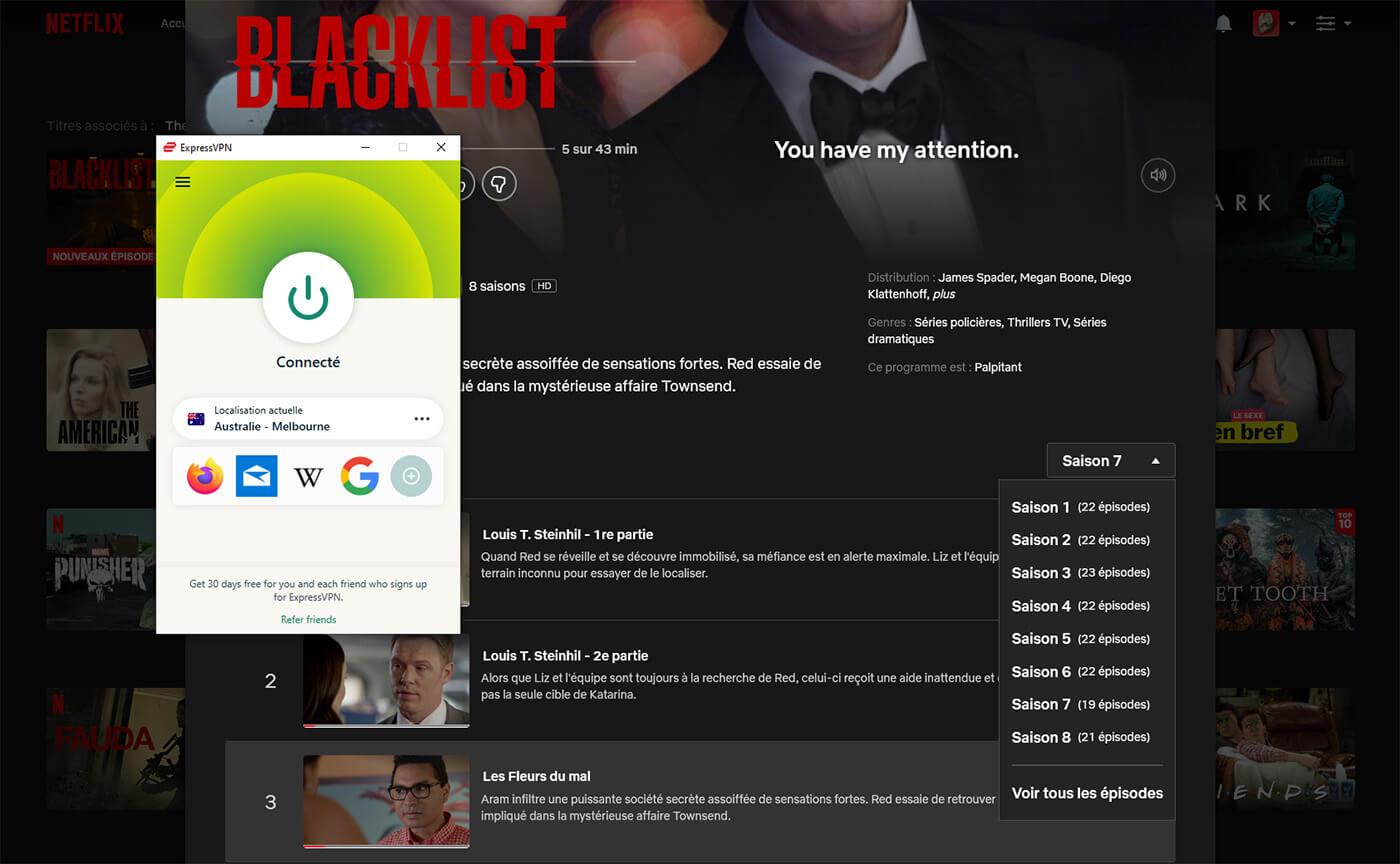 Blacklist 8 saisons Netflix Australie