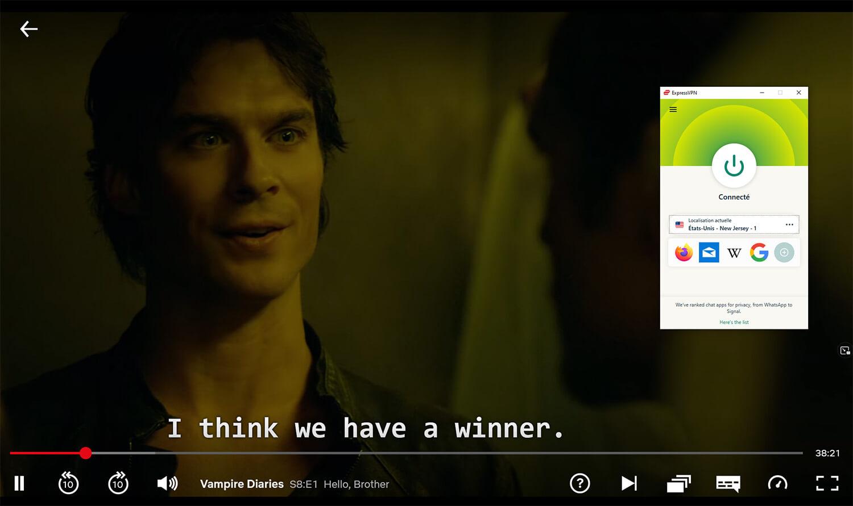 Visionnage Vampire Diaries Netflix USA