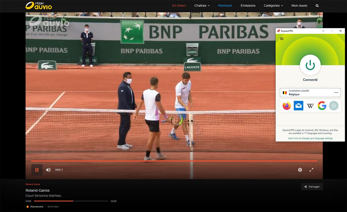 Streaming Roland Garros RTBF