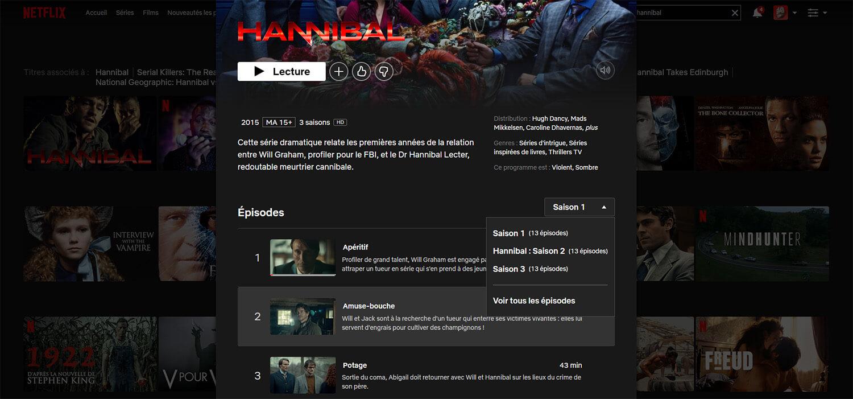 Hannibal 3 saison Netflix Australie