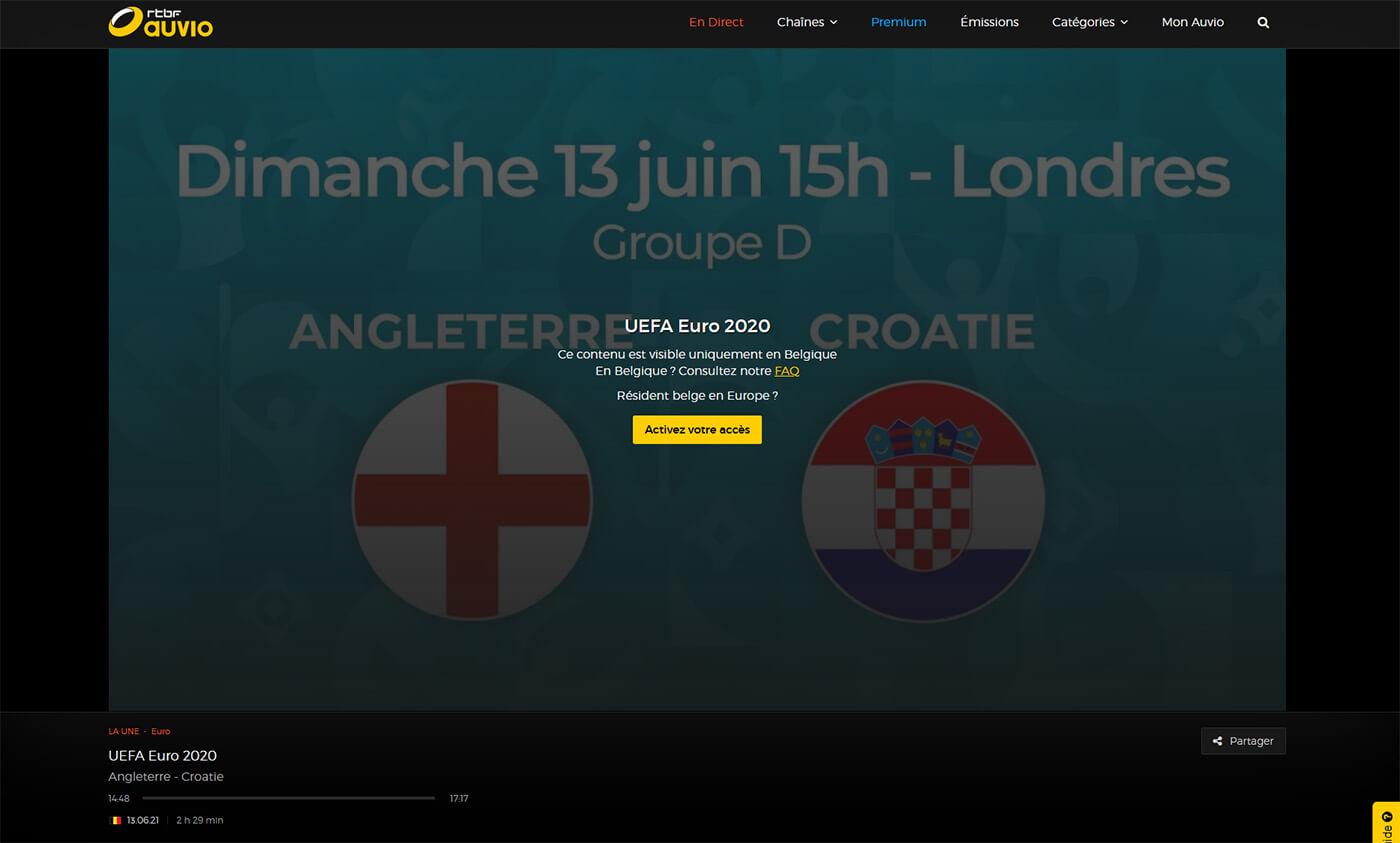 Message erreur RTBF regarder Euro Football
